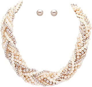 """Wide & Chunky White Taupe & Peachy-Beige Imitation-Pearl Braided Necklace 17"""" Long w/Matching Earrings"""