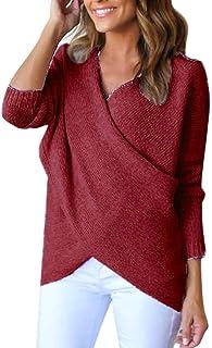 Suéter De Punto Mujer Otoño Invierno Cómodo Pullover Manga Larga Irregular Color Sólido Modernas Casual V-Cuello Jerseys T...