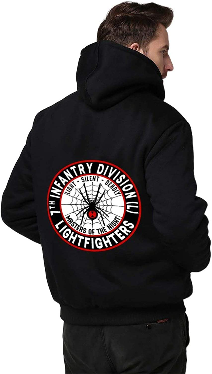 7th Infantry Division Men Hoodie Zipper Warmth Thickened Plus Fleece Jacket Black