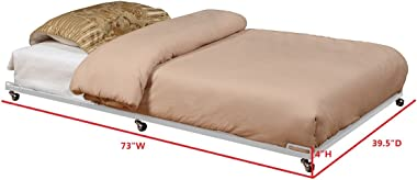 Kings Brand Twin Size Cream White Metal Roll Out Trundle Bed Frame for DayBed