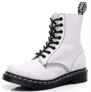 Dr. Martin unisex boots White soft leather boots couple trend short boots locomotive round head short boots thick bottom high top ankle boots non-slip wear-resistant short boots
