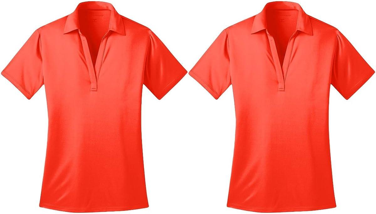 Port Authority Women Performance Polo Shirt, Neon Orange, L (Pack of 2)