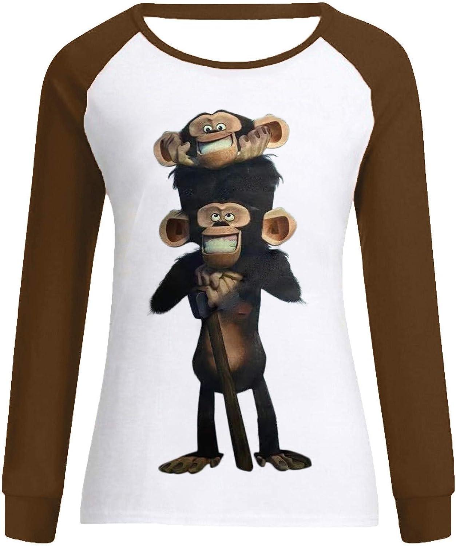 Funny Monkey Sweatshirt Monkey Primate Zookeeper Gift Shirts Womens Long Raglan Sleeve Tops Cute Graphic Baseballshrt