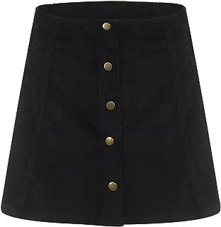 Clothink Women Velvet Button Front High Waist A-line Mini Skirt