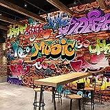 Wandbild 3D Ziegel Tapete Graffiti Art Cafe Bar Esszimmer Tapete für Wände 3D Wallpaper-350X245Cm