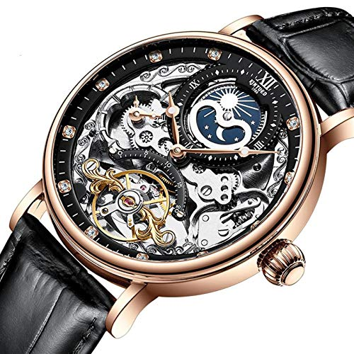 JTTM Relojes Analógicos Automáticos Mecánicos Relojes De Esqueleto Hombres Reloj con Correa De Cuero Marrón Relojes De Pulsera Impermeables para Hombres De Negocios Hombres,Rose Gold and Black