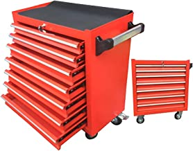 Flatbed truck Red Seven-Layer Design Parts car Multifunctional Trolley Repair Tool cart with Double Brake Wheels Storage Tool cart Large Capacity Load 200kg