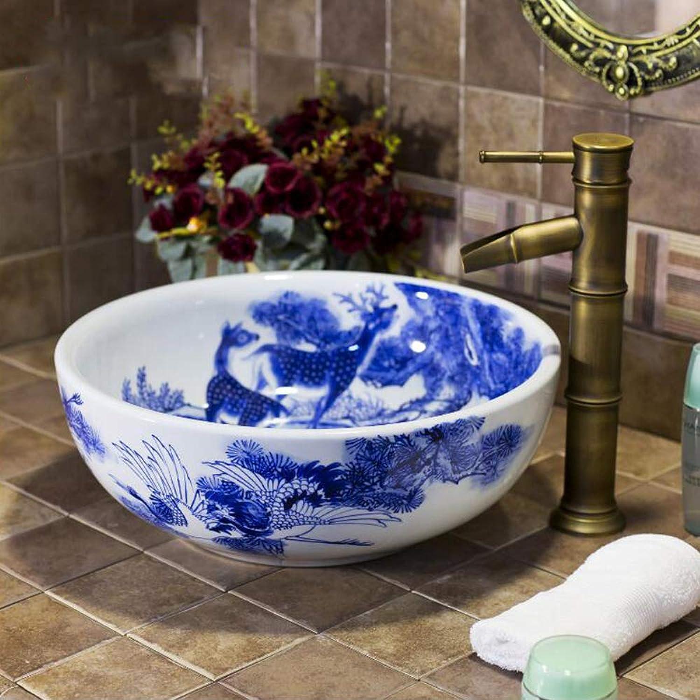 GongDi Waschpltze Aufsatzbecken handbemalt Jingdezhen blau und wei Porzellan Kunst Becken Bad Waschbecken Becken über Zhler Becken Wasserhahn Set 40  40  15