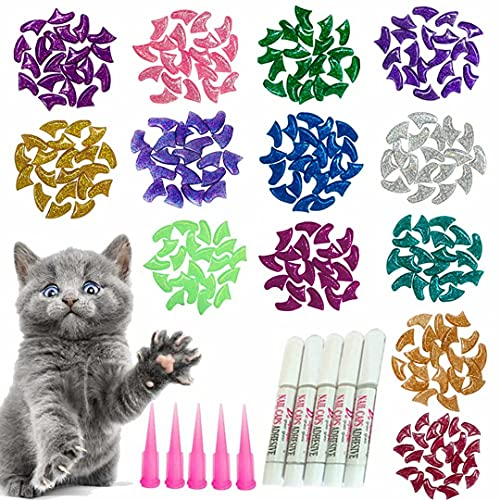 YMCCOOL 100pcs Cat Nail Caps Glitter Cat Claw Covers Kitten Nail Caps Pet Tips with Adhesives and...