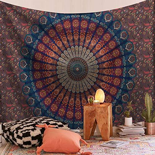 KHKJ Tapiz de Mandala Indio para Colgar en la Pared, Manta de Alfombra de Playa de Arena, Tienda de campaña, colchón de Viaje, tapices Bohemios A11 150x130cm