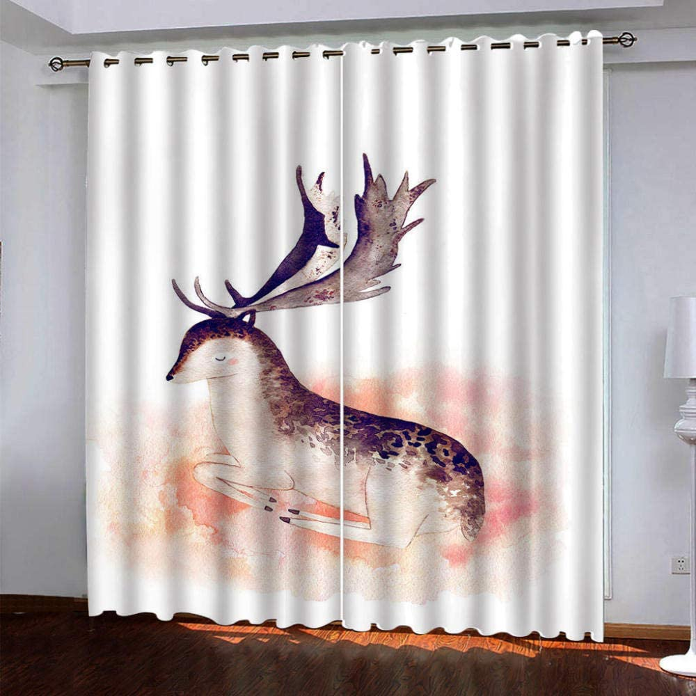 SDSONIU lowest price Blackout Curtains Grommet Max 77% OFF 3D Drapery Animal Pink Fawn fo