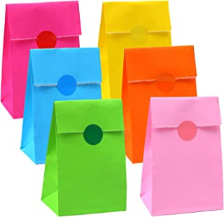 Cooraby 30 Pieces Mini Paper Party Bags 3.5 x 2.4 x 7.1 Inch Lunch Paper Bags Flat Bottom Kraft Party Bags Craft Paper Bag...