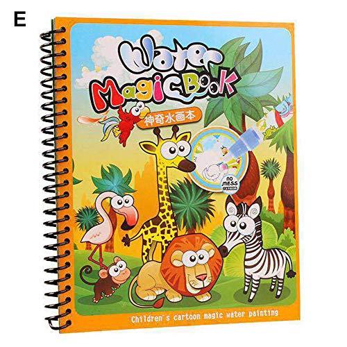 Soulitem Magic Water Drawing painting Board Book non tossico riutilizzabile educativo per bambini, E