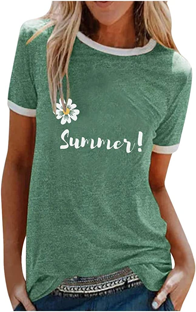 Women Sumemr T Shirt,Ladies Round Neck Short Sleeve Cusual Fashion Pullover Tee Blouse Top