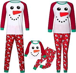 Pijamas Familiares Navidad con Estampado de Muñeco de Nieve, Pijama Navidad Familia de Manga Larga Conjunto de Mujer Hombre Bebe, Traje de Navidad Elfo Invierno