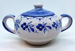 Zuccheriera Linea Blu Realizzata e Dipinta a mano Le Ceramiche del Castello Made in Italy 16 x 9 cm