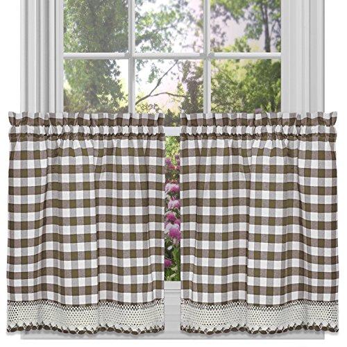 Achim Home Furnishings Tier Pair Buffalo Check Window Curtain, 58 x 36, Taupe & Ivory