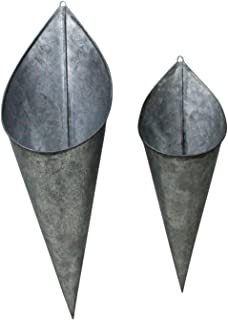 Hanging Metal Cone Wall Vases – Rustic Farmhouse Style, Nesting Set of 2