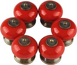 Larcele Vintage kastknop deurknop keramische handgrepen voor lade, rond, 6 stuks CTLS-01 (rood)
