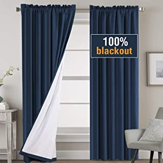 H.VERSAILTEX 100% Blackout Curtains 96 Inches Long, Noise Reduction Rod Pocket Window Treatment Curtains with White Liner, Thermal Insulated Energy Smart Drapes for Apartment Decor, Navy, 2 Panels