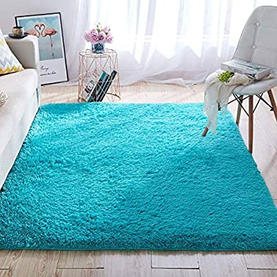 Wondo Soft Shaggy Area Rugs Modern Fluffy Bedroom Rug for Kids Nursery Girls Boys Super Comfy Shag Fur Carpets Living Room Furry Home Decor Rugs, 5.3x7.6 Feet Blue