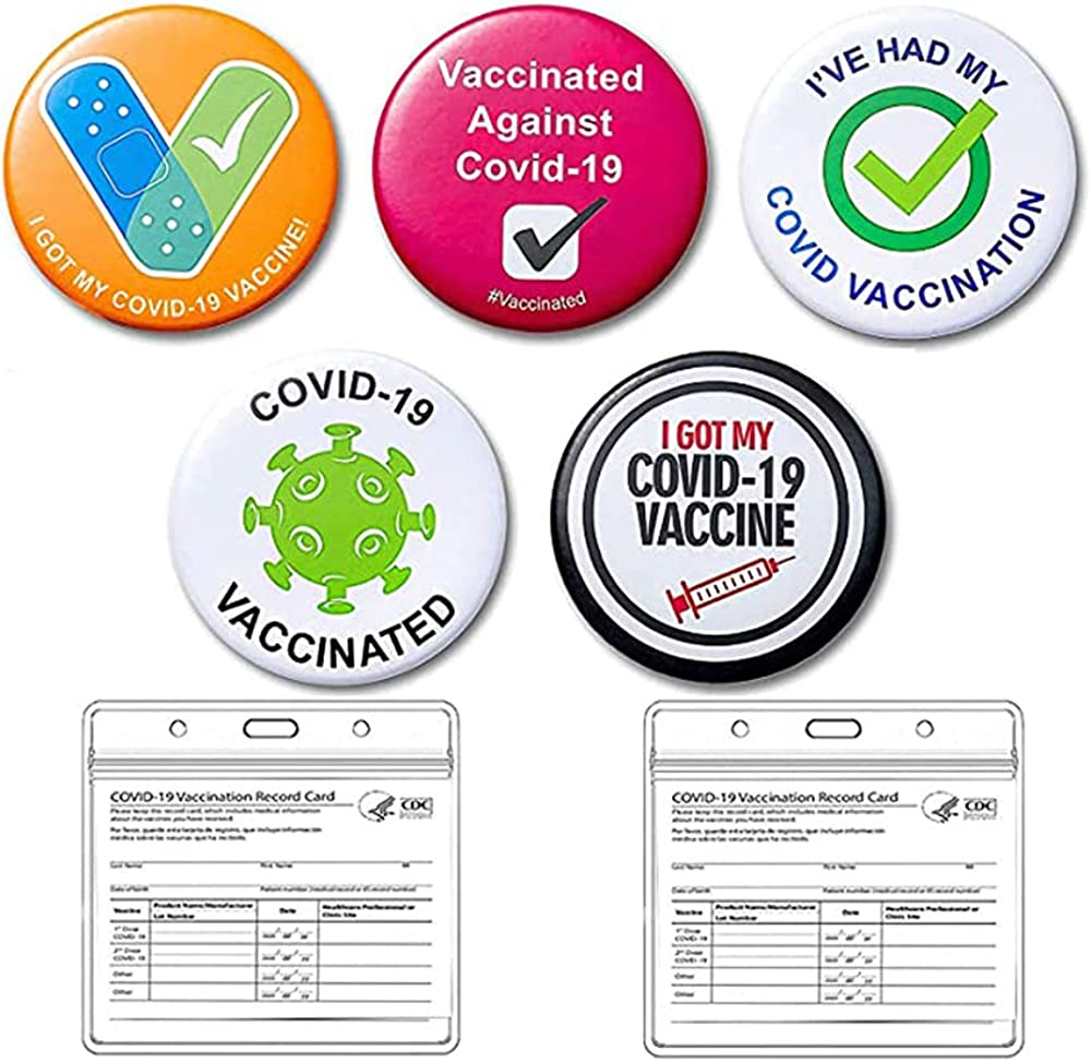 Vaccinated Brooch Pins for Women Men My Vaccination Button Pins Covid Vaccinated Metal Brooches Badge with CDC Vaccination Card protector Holder 4x 3