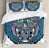 zpangg Juego de Funda nórdica Tribal Owl Bird Animal con diseño de Tatuaje de Paisley con Grandes pestañas de Ojos Azules Juego de Ropa de Cama Decorativa Estampada