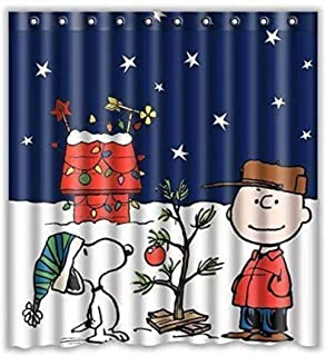 Eaiven Snoopy Christmas Shower Curtain, Funny Charlie Brown Waterproof Shower Curtains Navy Blue Bath Curtain Kids Cute Bathroom Set with Hooks for Thanksgiving Halloween Decoration Home Decor 66