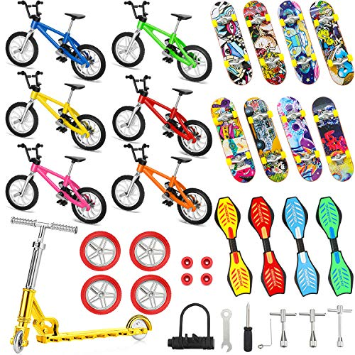 34 Pieces Mini Finger Toys Set Finger Skateboards Finger Bikes Scooter Tiny Swing Board Fingertip Movement Party Favors Replacement Wheels and Tools for Finger Training, Assorted Color