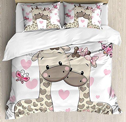 Juegos de cama Decoración infantil, lindas jirafas en puro amor de San Valentín con el arte de los arcos de mariposas y corazones, juego de colcha nórdica de 3 piezas para niños / niños / adolescentes