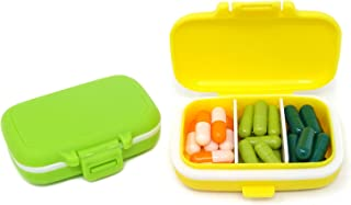 Honbay 2PCS Vitamin Organizer Box Portable Small Pill Case with 3 Removable Compartments for Travel or Daily Use