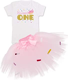 Donut Toddlers Outfit Sweet One Romper Tutu Skirt for Donut Grow up 1st Birthday Party Costumes White Pink