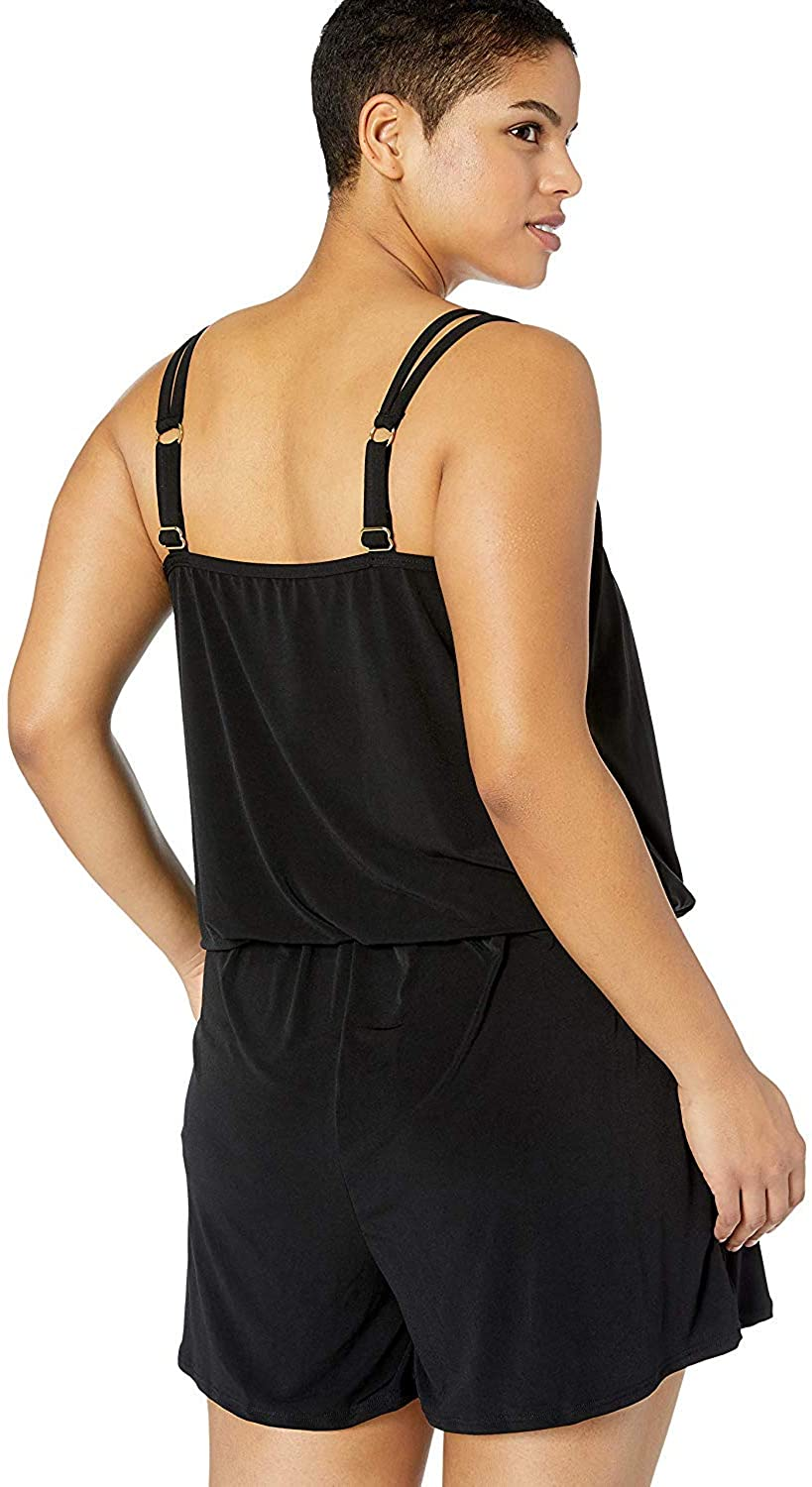 Maxine Of Hollywood Women's Plus-Size Romper One Piece Swimsuit
