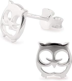 Eule Ohrstecker 925 Echt Silber mit Emaille Ohrringe Mädchen Baby Kinder Damen