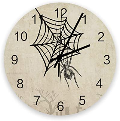 Round Wall Silence Clock Halloween Spider on Web Non-Ticking Battery Operated Clock Retro Wooden Wall Decor Clock for Bedroom Living Room Home Office School