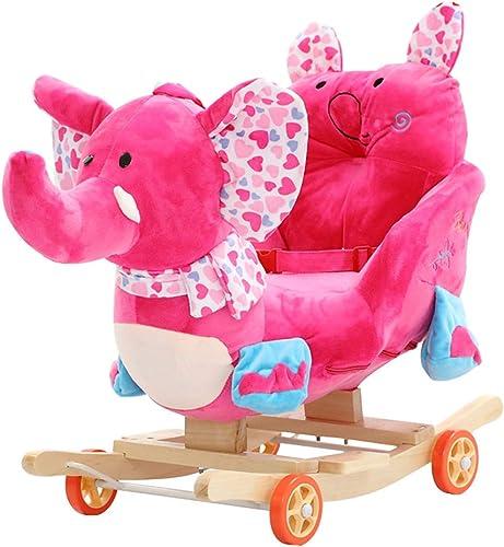 Cheval à bascule LQ Enfants éducation précoce en Bois Massif Musique Trojan Double Usage bébé Chaise à Bascule Bébé à Bascule Berceaux Bébé Jouet Cadeau 60  28  53 cm ( Couleur   A )