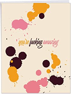 F-king Amazing - Encouragement Friendship Card with Envelope (Big 8.5 x 11 Inch) - Adult Humor, Friendly Greeting for Men, Women - Miss You J6407FRG