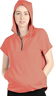 Workout Hoodie for Women - Athletic Running Pullover Short Sleeve Shirts with Kangaroo Pocket