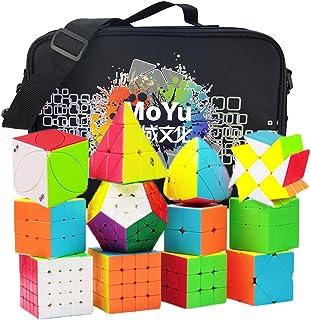 12個入 競技用 スピードキューブセット、特別な収納袋付き 、2x2 3x3 4x4 5x5 Pyraminx Megaminx Skewb SQ1キューブパズルのおもちゃ 回転スムーズ ポップ防止 立体パズルセット (ステッカーレス)