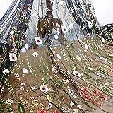 Blumig Bestickter Spitzenstoff, Mesh-Stoff zum Nähen, Geeignet für Hochzeitskleider, 100x120cm/39.37'x47.2' (Schwarz, Verkauf pro Meter)