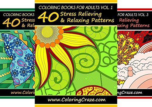 ColoringCraze Adult Coloring Books, Stress Relieving Coloring Pages For Grownups