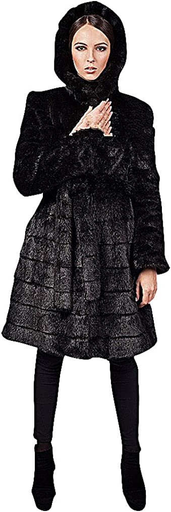 BLady Women's Black Or White Belted Faux Mink Fur Long Segmented Hooded Coat, Black XL,Manufacturer(XXXL)