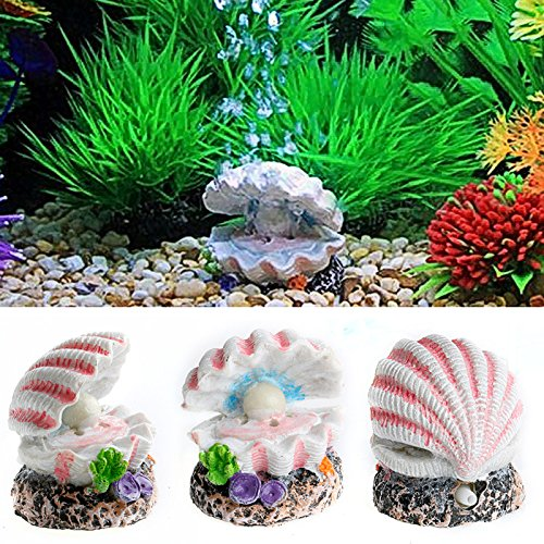 ECMQS Schale Perle& Air Stein Aquarium Shell Bubbler Sprudelnde Ornament Dekor