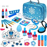 Frozen - Juego de maquillaje infantil para niñas, 31 unidades, lavable, seguro, no tóxico, con...