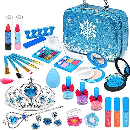 Frozen - Juego de maquillaje infantil para niñas, 31 unidades, lavable, seguro, no tóxico, con maletín de maquillaje, juego de rol, regalo para princesas pequeñas, 4, 5, 6, 7 y 8 años