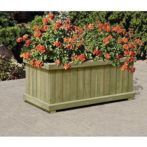 Gartenpirat Pflanzkasten Blumenkasten mit Rahmen aus Holz rechteckig 80 x 40 x 34 cm
