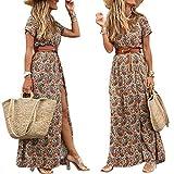 Voracale Vestidos mujer verano largos casual elegante vestido mujer cuello en V vestido bohemio flores estampado maxi largo sexy vacaciones playa, marrón, S