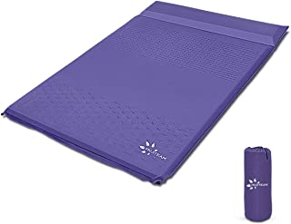 FRUITEAM Sleeping Pad for Camping 2 Person Extra Thickness Self-Inflating Double Camping Pad with Pillow, Sleeping Mat for Backpacking, Hiking