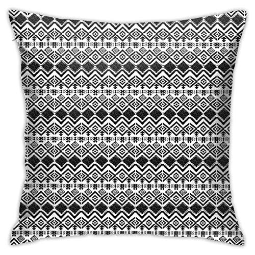 FULIYA Abstract Art Decorative Pillow Cover 18x18,Black and White Hand-Drawn Tribal Sketched Mexican Aztec Figures and Zigzags,Square Pillowcase for Living Room/Car