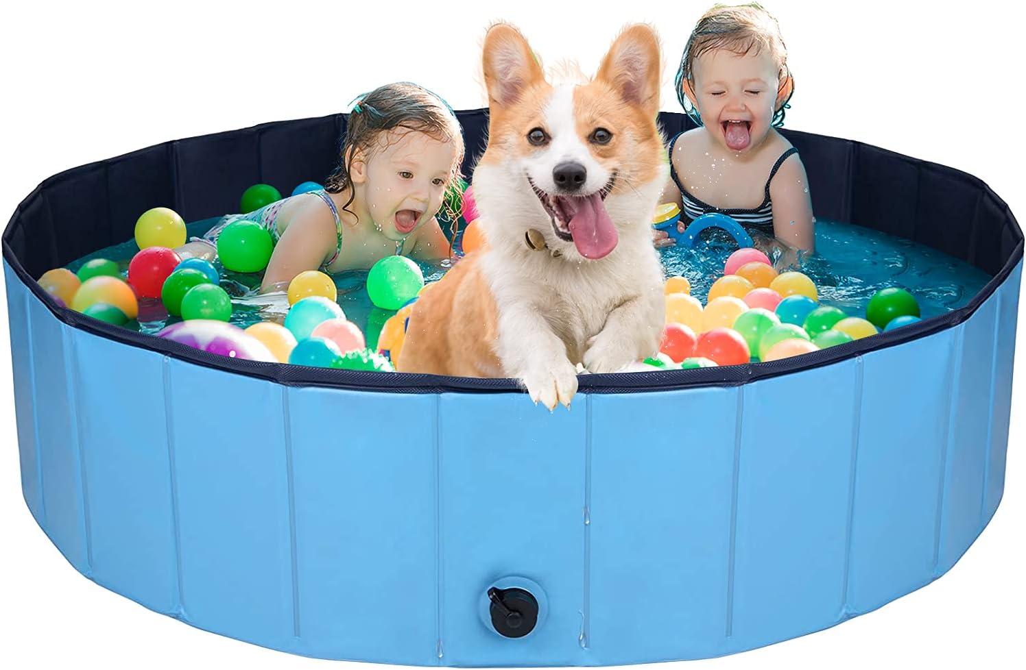 AJKMEI Piscina Perros Grande, Bañeras para Perros, PVC Antideslizante Bañera Plegable para Mascotas, Azul (M:80cmx20cm)